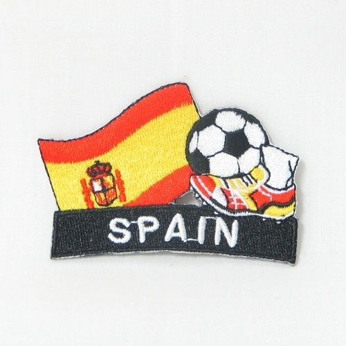"SPAIN FIFA SOCCER WORLD CUP , KICK COUNTRY FLAG EMBROIDERED IRON ON PATCH CREST BADGE .. SIZE : 2"" x 1.75"" INCHES .. NEW"