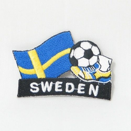 "SWEDEN FIFA SOCCER WORLD CUP , KICK COUNTRY FLAG EMBROIDERED IRON ON PATCH CREST BADGE .. SIZE : 2"" x 1.75"" INCHES .. NEW"