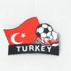 "TURKEY FIFA SOCCER WORLD CUP , KICK COUNTRY FLAG EMBROIDERED IRON ON PATCH CREST BADGE .. SIZE : 2"" x 1.75"" INCHES .. NEW"