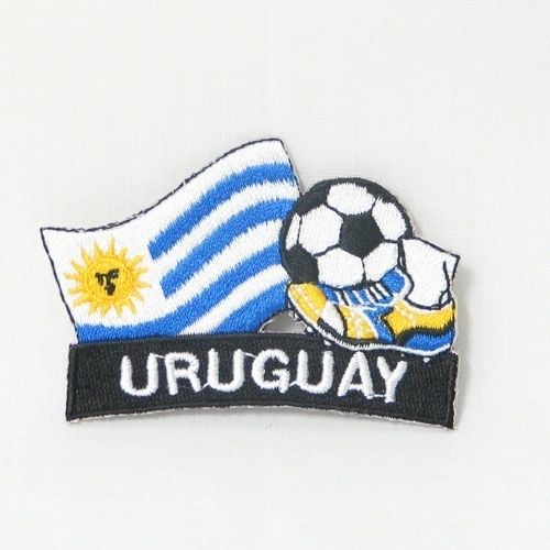 "URUGUAY FIFA SOCCER WORLD CUP , KICK COUNTRY FLAG EMBROIDERED IRON ON PATCH CREST BADGE .. SIZE : 2"" x 1.75"" INCHES .. NEW"