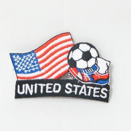 "USA FIFA SOCCER WORLD CUP , KICK COUNTRY FLAG EMBROIDERED IRON ON PATCH CREST BADGE .. SIZE : 2"" x 1.75"" INCHES .. NEW"