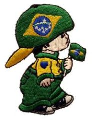"BRASIL LITTLE BOY COUNTRY FLAG EMBROIDERED IRON ON PATCH CREST BADGE .. SIZE : 3"" x 2"" INCHES .. NEW"