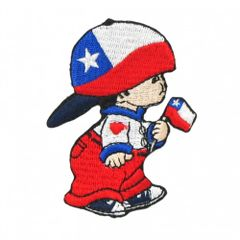 """CHILE LITTLE BOY COUNTRY FLAG EMBROIDERED IRON ON PATCH CREST BADGE .. SIZE : 3"""" x 2"""" INCHES .. NEW"""