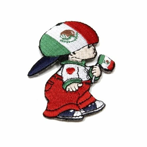 "MEXICO LITTLE BOY COUNTRY FLAG EMBROIDERED IRON ON PATCH CREST BADGE .. SIZE : 3"" x 2"" INCHES .. NEW"
