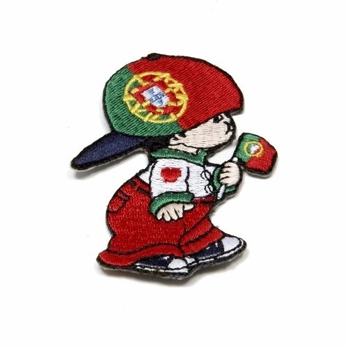 """PORTUGAL LITTLE BOY COUNTRY FLAG EMBROIDERED IRON ON PATCH CREST BADGE .. SIZE : 3"""" x 2"""" INCHES .. NEW"""
