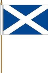 """SCOTLAND - ST. ANDREW 4"""" X 6"""" INCHES MINI COUNTRY STICK FLAG BANNER WITH STICK STAND ON A 10 INCHES PLASTIC POLE .. NEW AND IN A PACKAGE"""