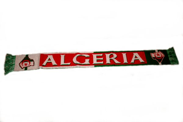 "ALGERIA COUNTRY FLAG AFA LOGO FIFA SOCCER WORLD CUP THICK SCARF .. SIZE : 56"" INCHES LONG X 6"" INCHES WIDE , 100% POLYESTER HIGH QUALITY .. NEW"