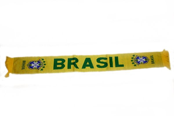 """BRASIL COUNTRY FLAG ,5 STARS CBF LOGO FIFA SOCCER WORLD CUP THICK SCARF .. SIZE : 56"""" INCHES LONG X 6"""" INCHES WIDE , 100% POLYESTER HIGH QUALITY .. NEW"""
