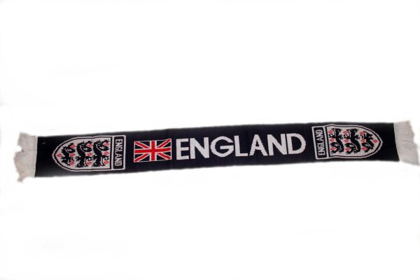 """ENGLAND BLACK COUNTRY FLAG FIFA SOCCER WORLD CUP THICK SCARF .. SIZE : 56"""" INCHES LONG X 6"""" INCHES WIDE , 100% POLYESTER HIGH QUALITY .. NEW"""