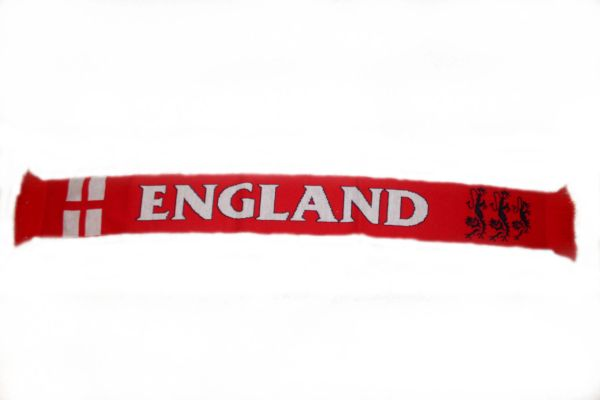 "ENGLAND RED COUNTRY FLAG FIFA SOCCER WORLD CUP THICK SCARF .. SIZE : 56"" INCHES LONG X 6"" INCHES WIDE , 100% POLYESTER HIGH QUALITY .. NEW"