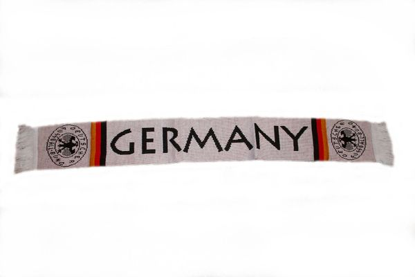 "GERMANY COUNTRY FLAG DEUTSCHER FUSSBALL - BUND LOGO FIFA SOCCER WORLD CUP THICK SCARF .. SIZE : 56"" INCHES LONG X 6"" INCHES WIDE , 100% POLYESTER HIGH QUALITY .. NEW"