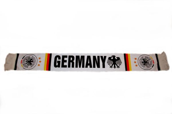 "GERMANY COUNTRY FLAG WITH EAGLE DEUTSCHER FUSSBALL - BUND LOGO FIFA SOCCER WORLD CUP THICK SCARF .. SIZE : 56"" INCHES LONG X 6"" INCHES WIDE , 100% POLYESTER HIGH QUALITY .. NEW"
