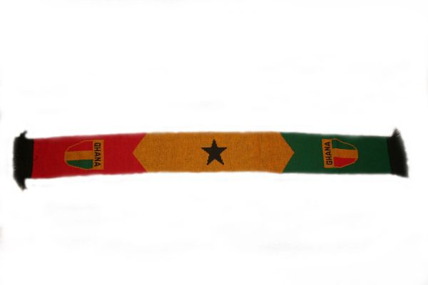 """GHANA COUNTRY FLAG FIFA SOCCER WORLD CUP THICK SCARF . . SIZE : 56"""" INCHES LONG X 6"""" INCHES WIDE , 100% POLYESTER HIGH QUALITY .. NEW"""