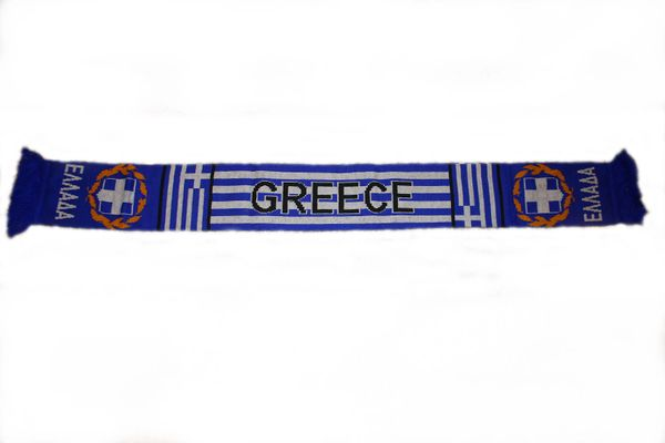 "GREECE HELLAS BLUE - WHITE COUNTRY FLAG FIFA SOCCER WORLD CUP THICK SCARF .. SIZE : 56"" INCHES LONG X 6"" INCHES WIDE , 100% POLYESTER HIGH QUALITY .. NEW"