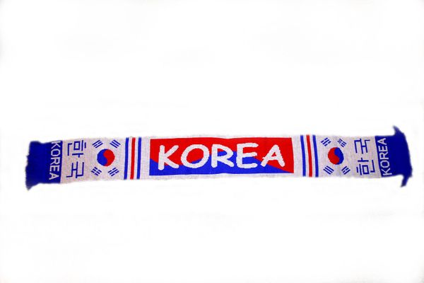 "KOREA COUNTRY FLAG THICK SCARF .. SIZE : 56"" INCHES LONG X 6"" INCHES WIDE , 100% POLYESTER HIGH QUALITY .. NEW"