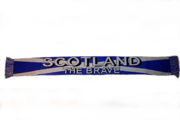 "SCOTLAND ""THE BRAVE"" COUNTRY FLAG THICK SCARF .. SIZE : 56"" INCHES LONG X 6"" INCHES WIDE , 100% POLYESTER HIGH QUALITY .. NEW"