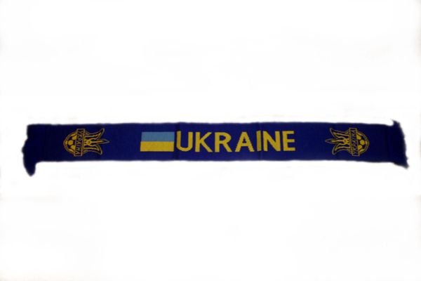 "UKRAINE COUNTRY FLAG WITH TRIDENT THICK SCARF .. SIZE : 56"" INCHES LONG X 6"" INCHES WIDE , 100% POLYESTER HIGH QUALITY .. NEW"