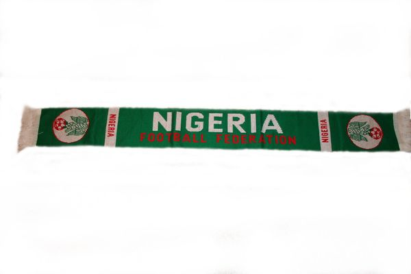 "NIGERIA COUNTRY FLAG WITH TRIDENT THICK SCARF .. SIZE : 56"" INCHES LONG X 6"" INCHES WIDE , 100% POLYESTER HIGH QUALITY .. NEW"
