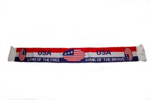 "USA COUNTRY FLAG ""LAND OF THE FREE"" THICK SCARF .. SIZE : 56"" INCHES LONG X 6"" INCHES WIDE , 100% POLYESTER HIGH QUALITY .. NEW"