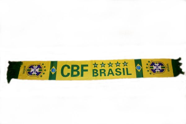 """BRASIL 5 STARS COUNTRY FLAG , CBF LOGO FIFA SOCCER WORLD CUP THICK SCARF .. SIZE : 56"""" INCHES LONG X 6"""" INCHES WIDE , 100% POLYESTER HIGH QUALITY .. NEW"""