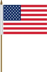 "USA 4"" X 6"" INCHES MINI COUNTRY STICK FLAG BANNER WITH STICK STAND ON A 10 INCHES PLASTIC POLE .. NEW AND IN A PACKAGE"