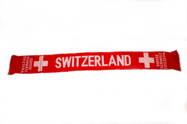 "SWITZERLAND COUNTRY FLAG THICK SCARF .. SIZE : 56"" INCHES LONG X 6"" INCHES WIDE , 100% POLYESTER HIGH QUALITY .. NEW"