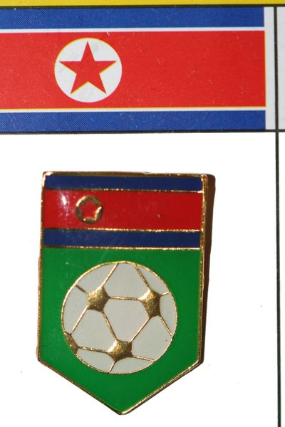 NORTH KOREA FIFA WORLD CUP SOCCER LAPEL PIN BADGE .. NEW AND IN A PACKAGE