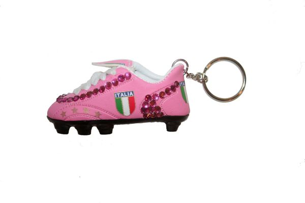 ITALIA PINK COUNTRY FLAG FIGC LOGO SOCCER WORLD CUP SHOE CLEAT KEYCHAIN .. NEW AND IN A PACKAGE