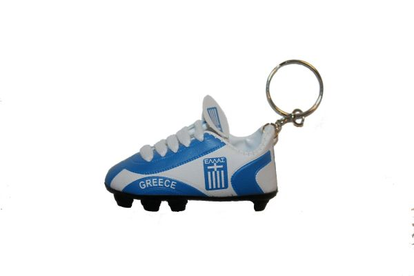 GREECE COUNTRY FLAG SHOE CLEAT KEYCHAIN .. NEW AND IN A PACKAGE