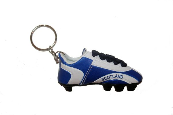 SCOTLAND WHITE BLUE SHOE CLEAT KEYCHAIN .. NEW AND IN A PACKAGE