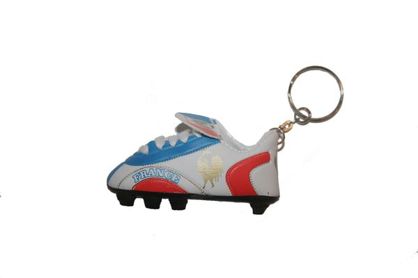 FRANCE BLUE WHITE RED SHOE CLEAT KEYCHAIN .. NEW AND IN A PACKAGE