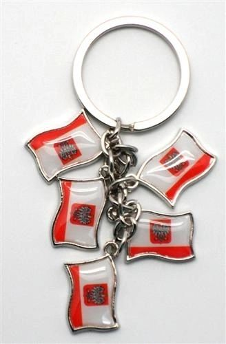 POLAND WITH EAGLE 5 COUNTRY FLAG METAL KEYCHAIN .. NEW AND IN A PACKAGE