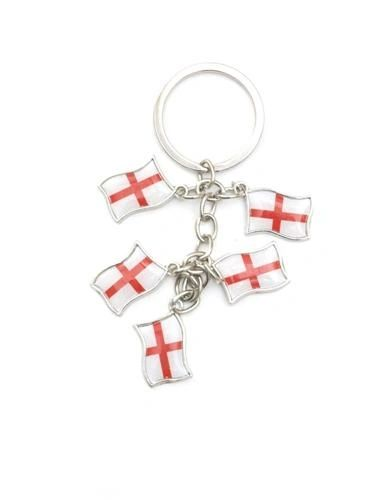 ENGLAND 5 COUNTRY FLAG METAL KEYCHAIN .. NEW AND IN A PACKAGE