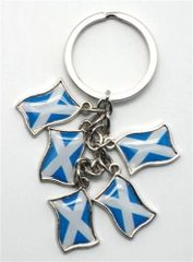 SCOTLAND - ST.ANDREW 5 COUNTRY FLAG METAL KEYCHAIN .. NEW AND IN A PACKAGE