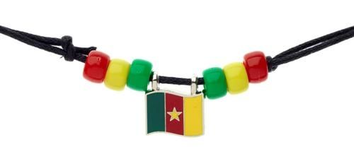 CAMEROON COUNTRY FLAG SMALL METAL NECKLACE CHOKER .. NEW AND IN A PACKAGE
