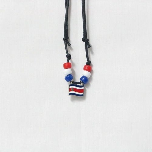 COSTA RICA COUNTRY FLAG SMALL METAL NECKLACE CHOKER .. NEW AND IN A PACKAGE