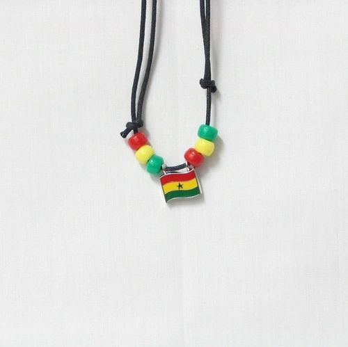 GHANA COUNTRY FLAG SMALL METAL NECKLACE CHOKER .. NEW AND IN A PACKAGE