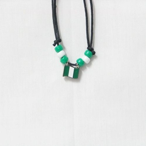 NIGERIA COUNTRY FLAG SMALL METAL NECKLACE CHOKER .. NEW AND IN A PACKAGE