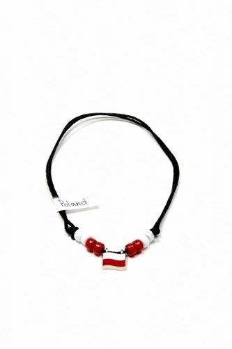 POLAND COUNTRY FLAG SMALL METAL NECKLACE CHOKER .. NEW AND IN A PACKAGE
