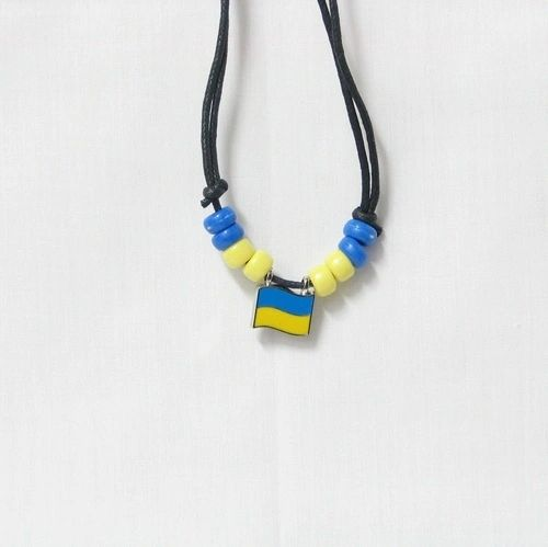 UKRAINE COUNTRY FLAG SMALL METAL NECKLACE CHOKER .. NEW AND IN A PACKAGE