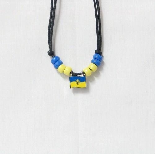 UKRAINE WITH TRIDENT COUNTRY FLAG SMALL METAL NECKLACE CHOKER .. NEW AND IN A PACKAGE