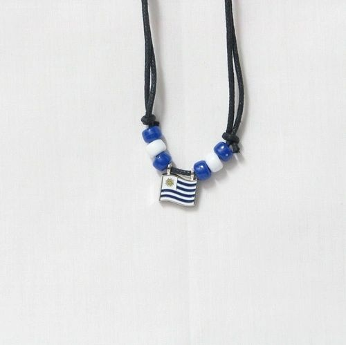 URUGUAY COUNTRY FLAG SMALL METAL NECKLACE CHOKER .. NEW AND IN A PACKAGE