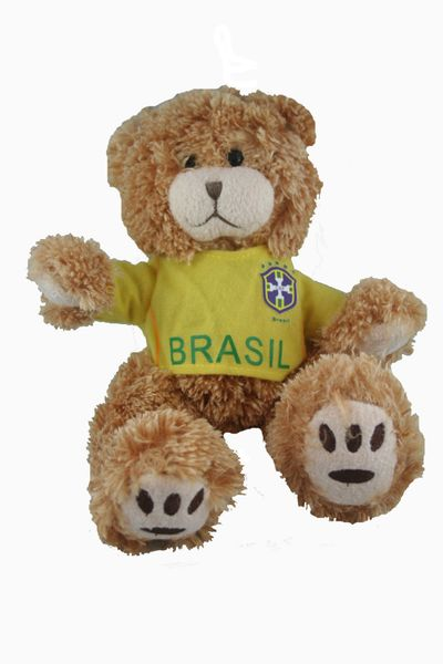 """BRASIL FIFA SOCCER WORLD CUP SMALL 10"""" INCHES JERSEY BEAR .. GREAT QUALITY .. NEW AND IN A PACKAGE"""