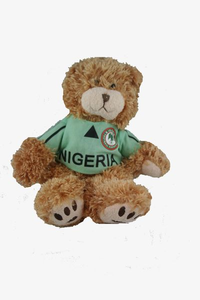 "NIGERIA FIFA SOCCER WORLD CUP SMALL 10"" INCHES JERSEY BEAR .. GREAT QUALITY .. NEW AND IN A PACKAGE"
