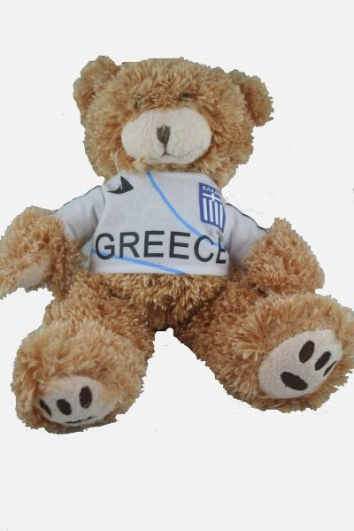 """GREECE FIFA SOCCER WORLD CUP SMALL 10"""" INCHES JERSEY BEAR .. GREAT QUALITY .. NEW AND IN A PACKAGE"""