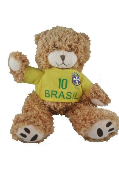 """BRASIL FIFA SOCCER WORLD CUP KAKA # 10 SMALL 10"""" INCHES JERSEY BEAR .. GREAT QUALITY .. NEW AND IN A PACKAGE"""