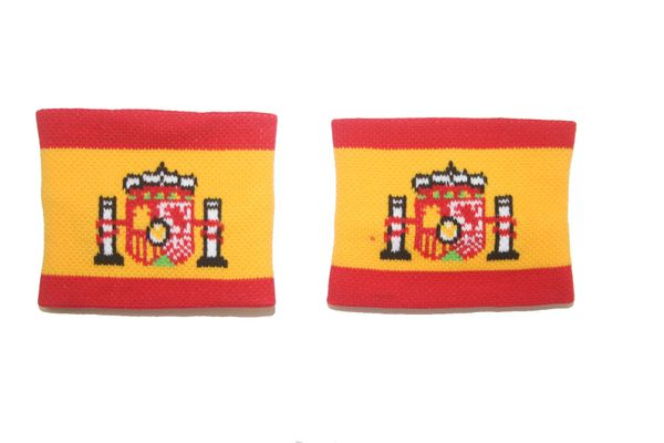 SPAIN COUNTRY FLAG WRISTBAND SWEATBAND .. HIGH QUALITY .. NEW AND IN A PACKAGE