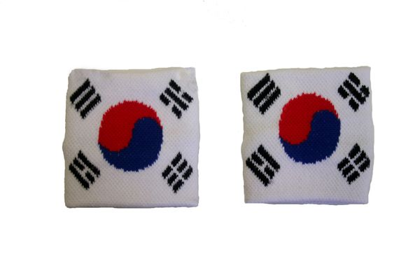 KOREA SOUTH COUNTRY FLAG WRISTBAND SWEATBAND .. HIGH QUALITY .. NEW AND IN A PACKAGE