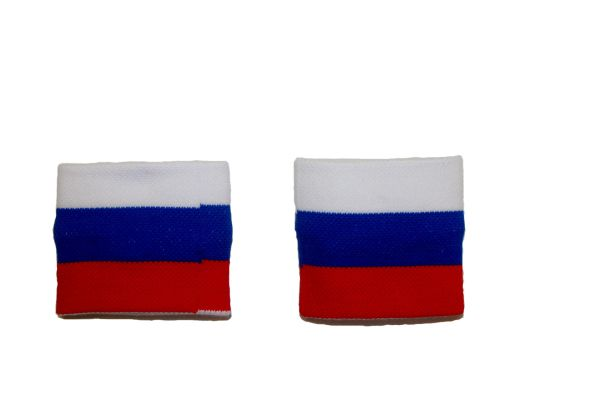 RUSSIA COUNTRY FLAG WRISTBAND SWEATBAND .. HIGH QUALITY .. NEW AND IN A PACKAGE