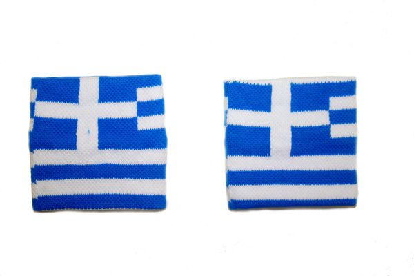 GREECE COUNTRY FLAG WRISTBAND SWEATBAND .. HIGH QUALITY .. NEW AND IN A PACKAGE